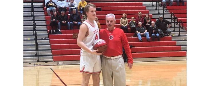 Blake Stewart presented with commemorative ball for breaking Boyd County Basketball career steals records - Congratulations!