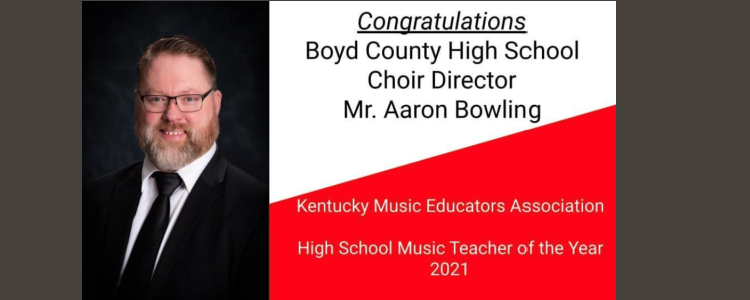 Congratulations Aaron Bowling - KMEA State High School Teacher of the Year Award for 2021