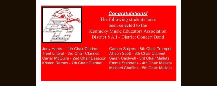District 8 All-District Concert Band - Congratulations!