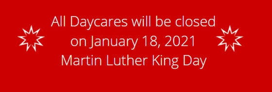 Daycares Closed January 18 2021