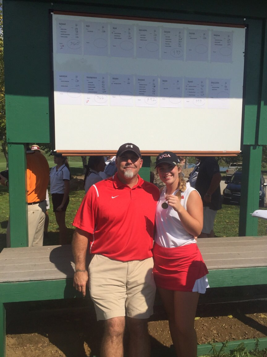 Olivia Hensley 2017 Golf Champion with her coach, and dad, Scott Hensley.