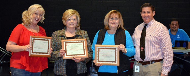 The January Fred of the Month Award was shared by the Coordinators and staff of the Family Resource and Youth Services Centers. Pictured, left to right are Jenny Caperton (FRC-East), Ruth Ellen Chaney (FRC-West), and Vickie Caniff (YSC at BCMS and BCHS). Superintendent Brock Walter is pictured far right. Also recognized, but not present, was FRC-East assistant Helen Bocook.