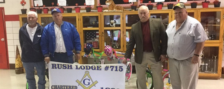 Rush Lodge #715 donates bikes to use as attendance incentive. Thank you!
