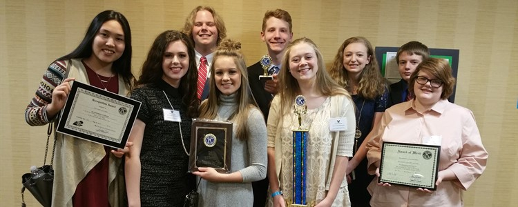 BCHS Key Club brings back some great hardware from the conference. Front Row:   Asmanai Paiazova, Emma Hunley, Hannah Hupp, Hannah Davis, and Kylie Ramey. Back Row:   Spencer Brumfield, Zach Farrell, Jessica Burton, Ryan Griffith.  The club advisor is Ms. Shelli Wilburn.