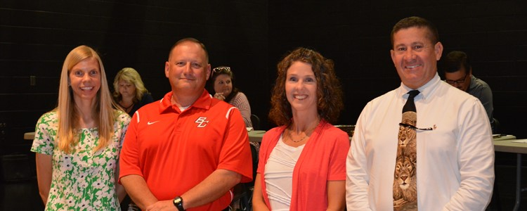 Four of our teachers had perfect attendance during the 16-17 school year. Three are pictured above with Superintendent Walter. They are, left to right:  Courtney Brickey, Gregory Preston, and Tanya Queen. Christine Gindlesperger, not pictured, also had perfect attendance and, through a random drawing, was the winner of a classroom set of Chromebooks!