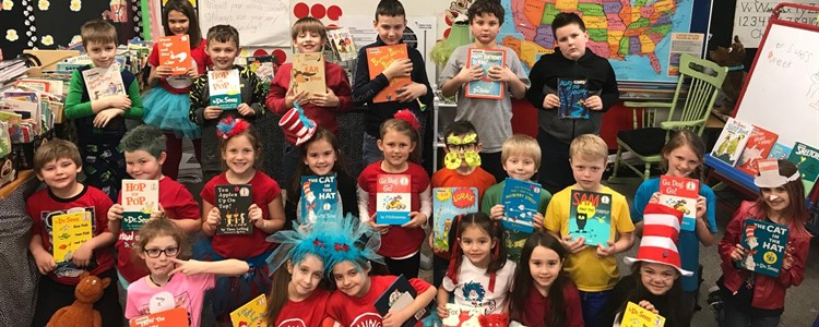 Ms. Lyons class celebrating Dr. Seuss's birthday.