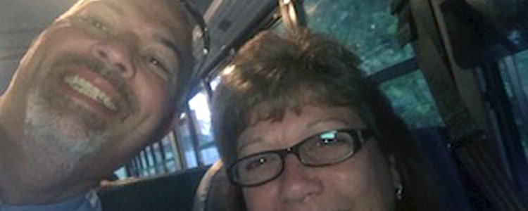 Mr. Boblett, Superintendent of Boyd County Schools, takes a selfie with a bus driver on the fist day of school.