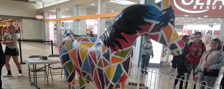 Mr. Spear's class of 17 art students painted one of the horses now on display at the Ashland Town Center mall.