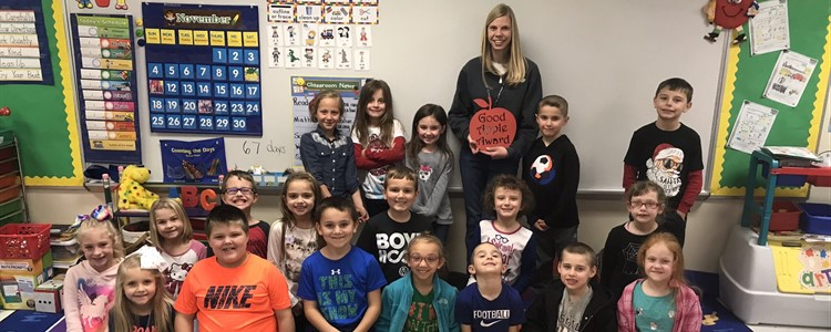 Courtney Bricky, pictured here with her class from Summit Elementary, is the Superintendent's Good Apple Award recipient for November 2018.