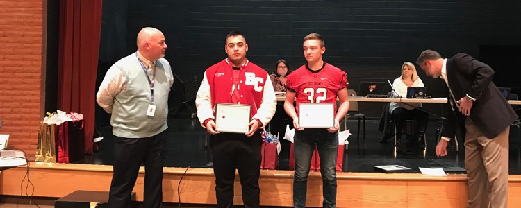 BCHS Football players are honored for being named to the 2108 Daily Independent's All-Area Large School Footbal Team.