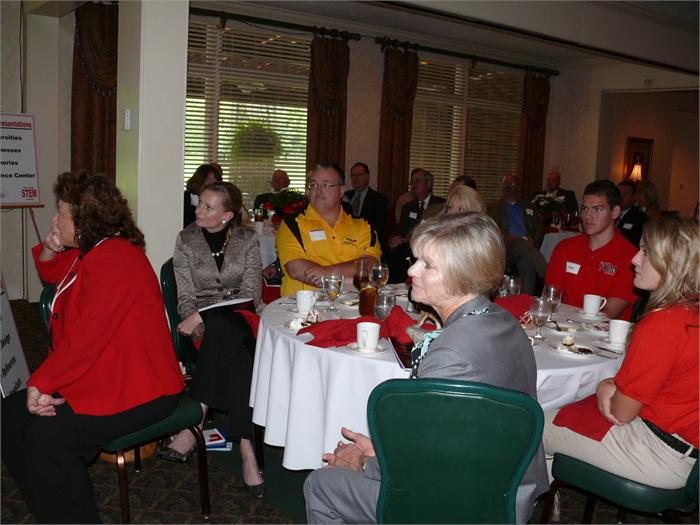 First Lady Jan Beshear listens to the speaker during the STEM luncheon.
