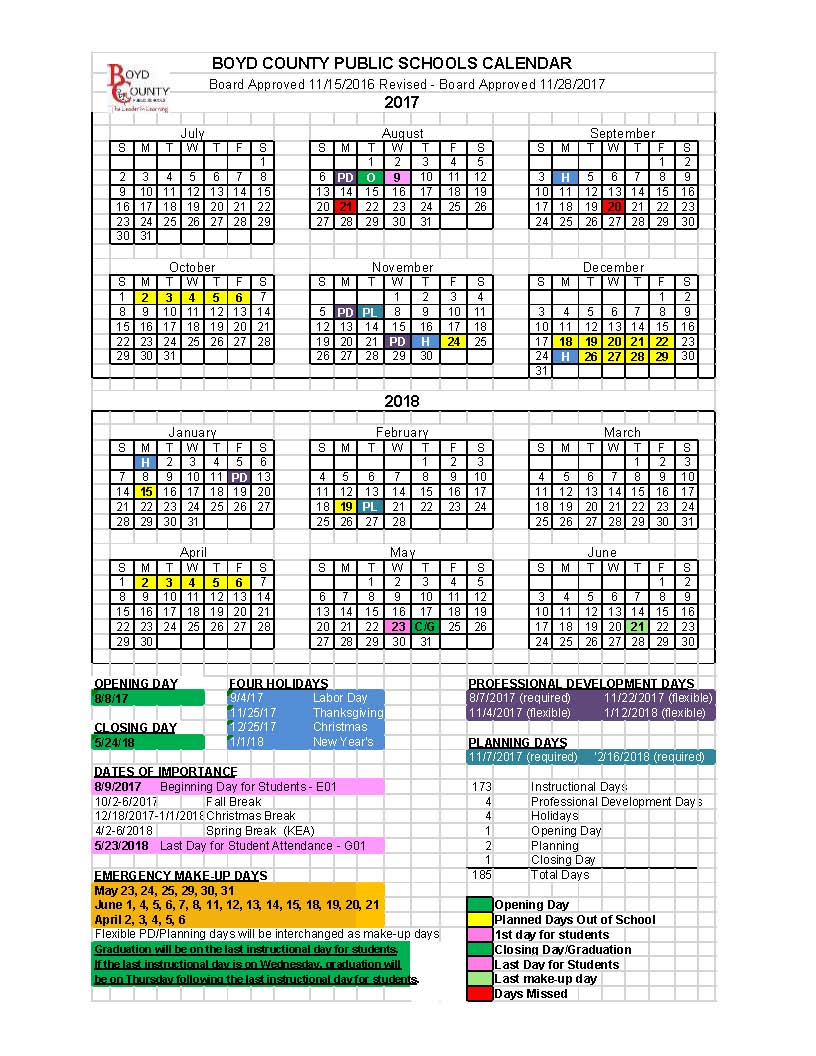 Current District Calendar 2017-2018