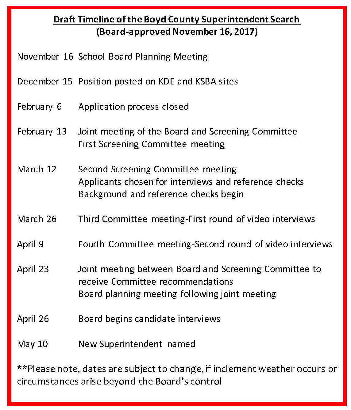 Timeline for Superintendent search.