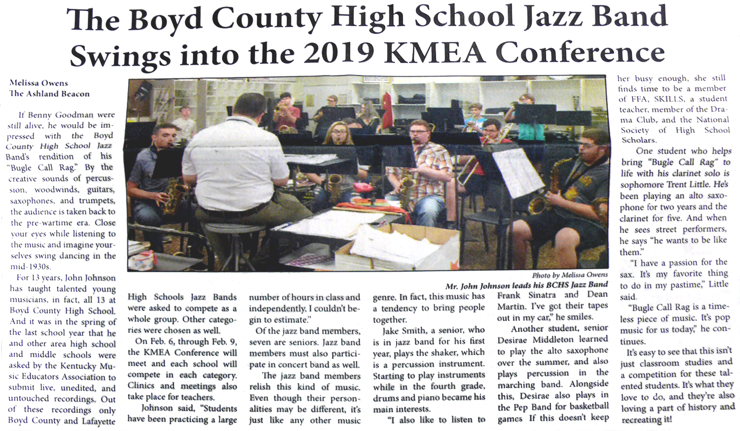 Beacon article featuring the BCHS Jazz Band who will be performing at the KMEA conference.